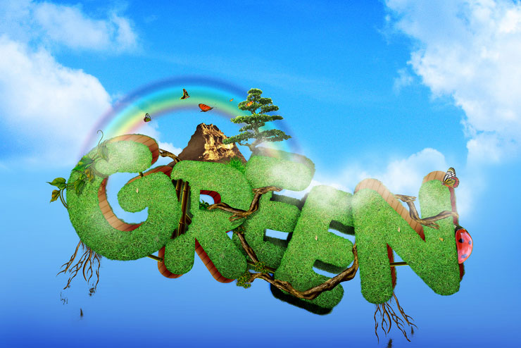 green 25 Inspirational 3D Typography Designs