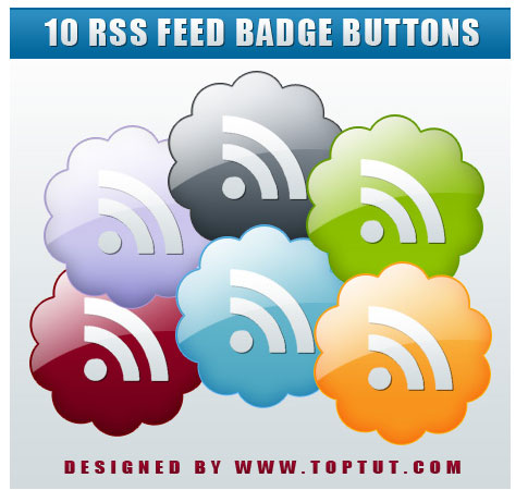 rss feed badge buttons  Ultimate RSS Feed Icon Collection Over 1500+