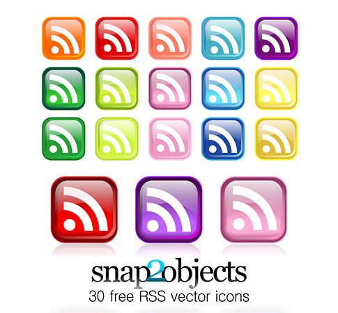 vector icons square  Ultimate RSS Feed Icon Collection Over 1500+