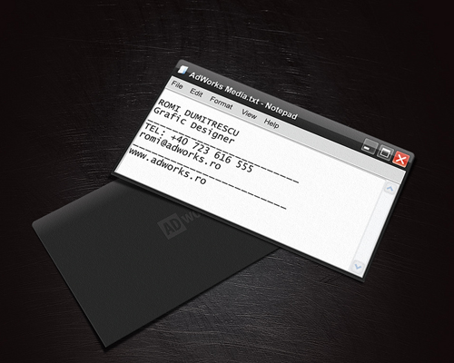 ms word notepad themed business card