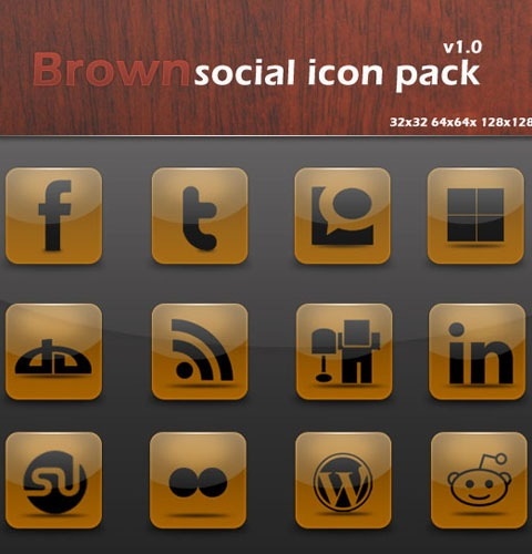 brownsocialiconpack 40 Fresh New High Quality Icon Sets Created In 2010