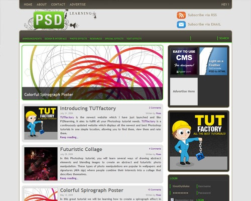 psdlearning 40 Online Design Blogs To Turn You Into a Photoshop Guru