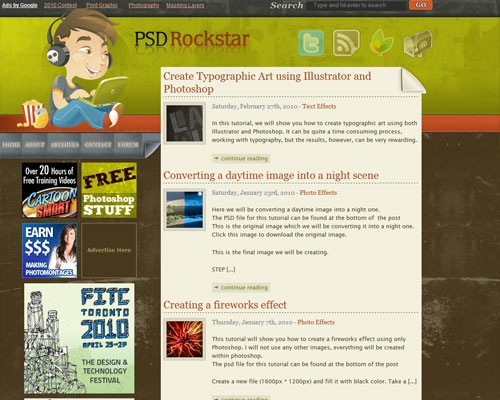 psdrockstar 40 Online Design Blogs To Turn You Into a Photoshop Guru