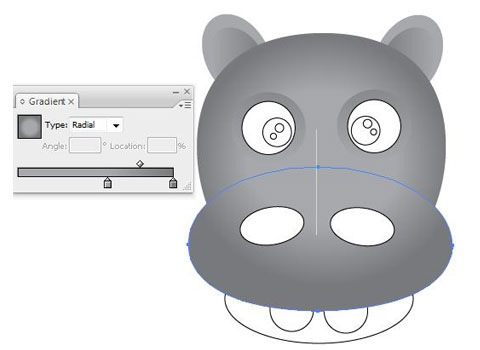 gradientheadnose How To Create Face Of A Hippo Using Illustrator
