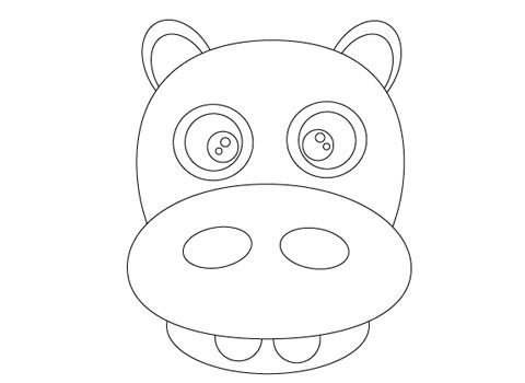 hippooutline How To Create Face Of A Hippo Using Illustrator
