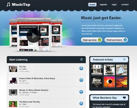 musicwebsite 80 Fresh Photoshop Tutorials For Creating Awesome Websites