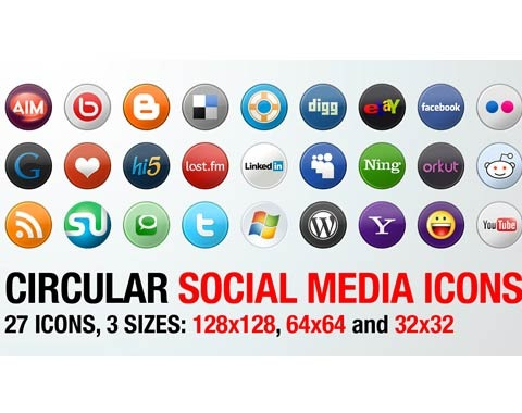 circularsocialmediaicons 99 Icon Sets To Use In Commercial Design Projects