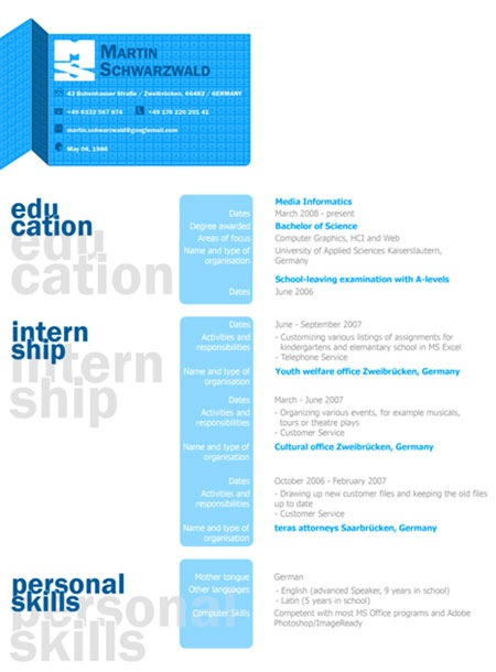 creative resume martin martin 20 creative resume designs which will amaze any potential employer - Graphic Design Resume Samples Pdf