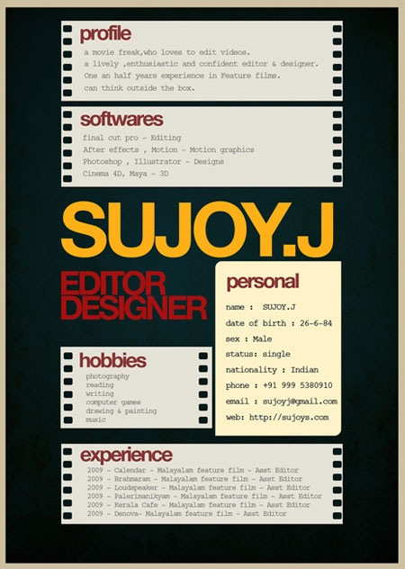sujoy 20 Creative Resume Designs Which Will Amaze Any Potential Employer