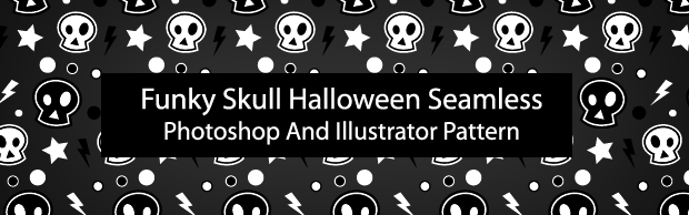 halloweenskullbannerpreview Funky Skull Halloween Seamless Photoshop And Illustrator Pattern
