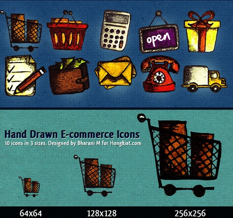 handrawnecommerceicons 50 Of The Best Free Icon Sets From 2011
