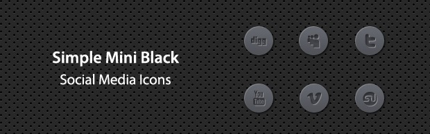 iconsbanner Simple Mini Black Social Media Icons
