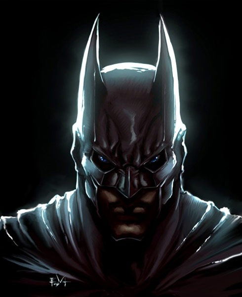 batmanhead 40 Spectacular Digital Paintings And Illustrations Of Super Hero's