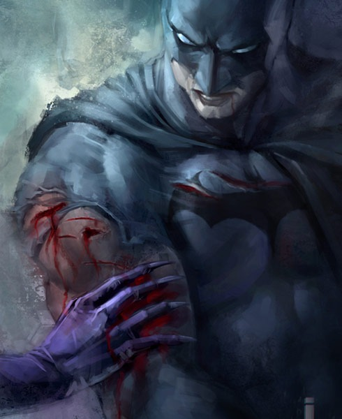 batmanwatercolor 40 Spectacular Digital Paintings And Illustrations Of Super Hero's