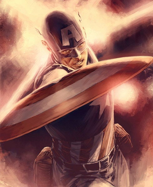 captinamericashiledillustration 40 Spectacular Digital Paintings And Illustrations Of Super Hero's