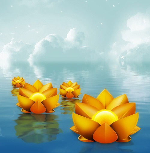 onwaterflower 30 Photoshop Tutorials For Creating Beautiful Illustration