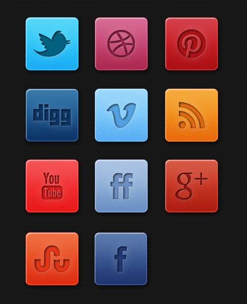 Fresh Subtle Social Media Icon Set