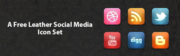 Leathersocialmediaiconsetbanner A Free Leather Social Media Icon Set