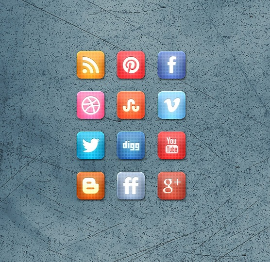 gridstylesocialmediaiconsetpreview Slick Grid Style Free Social Media Icon Set