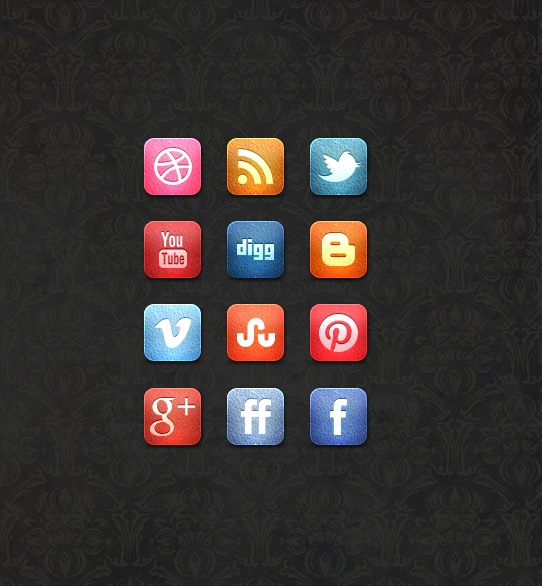 leathersocialmediaiconsetpreview A Free Leather Social Media Icon Set