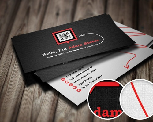 25 free business card design templates creative nerds scan my qr code business cards qr business card reheart Image collections