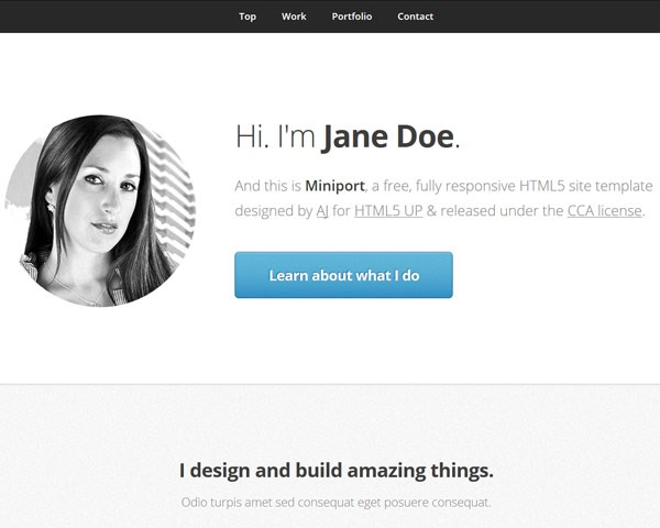 mini port 50 best free html responsive templates