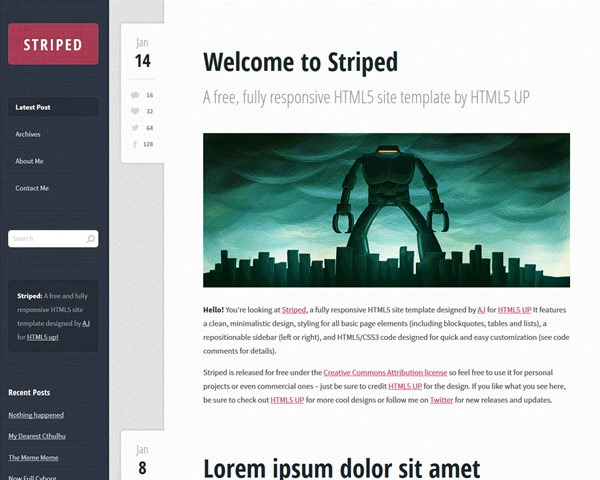 striped 50 best free html responsive templates