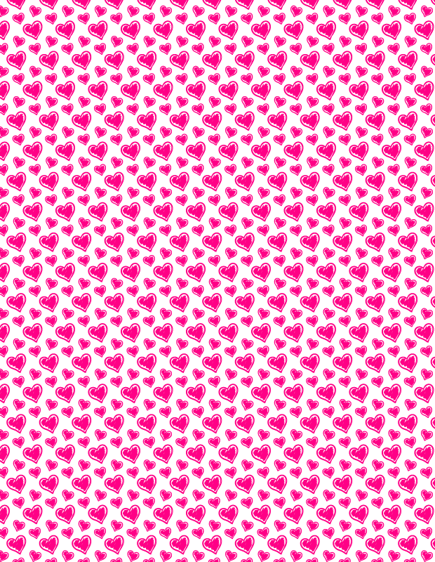 pink heart scribbled pattern Hand scribbled heart seamless vector pattern