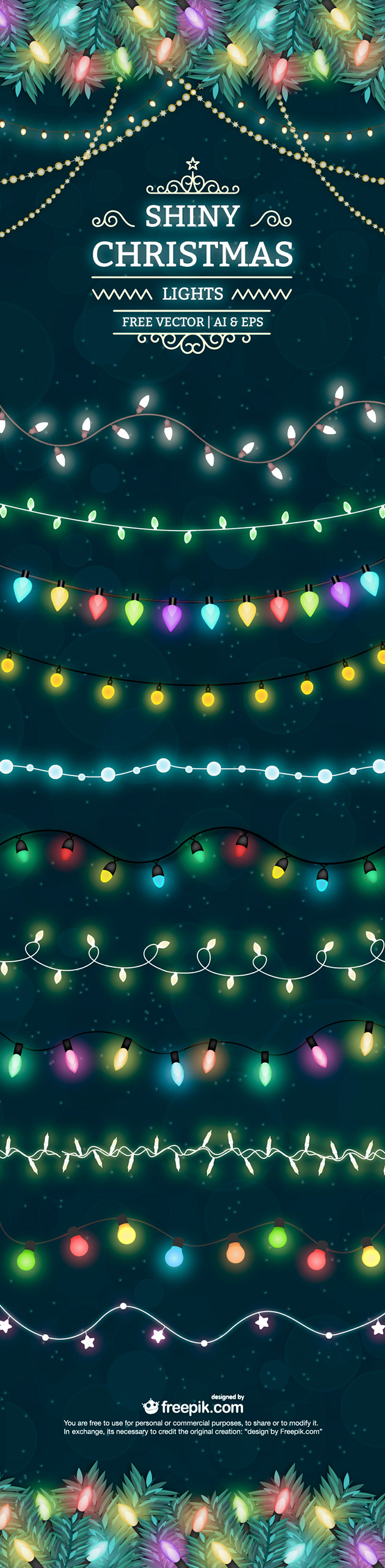 Shiny Christmas light free vector set | Creative Nerds
