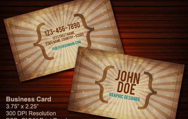 25 free photoshop business card templates creative nerds vintage business card psd business cards vintage reheart Image collections