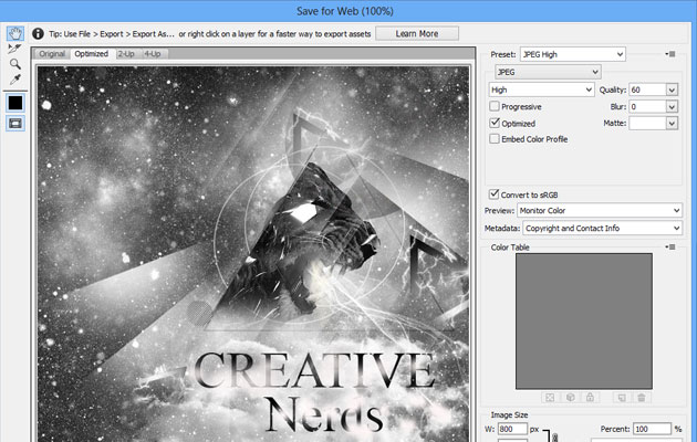 save for web How to find the save for web tool in Photoshop CC 2015