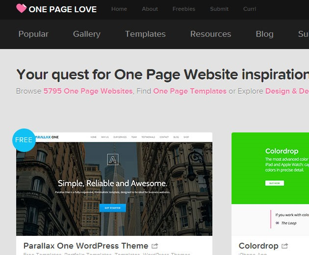 one page site 10 must visit web galleries for web design inspiration