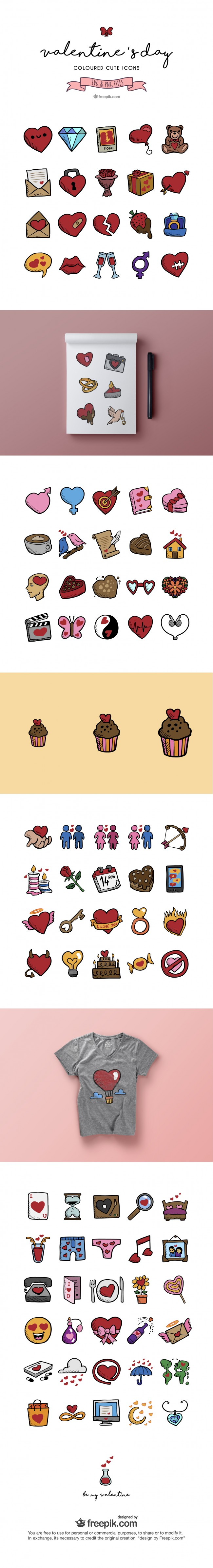Hand drawn Valentines day icons 01 e1455297863702 80 Free cute valentines day icons