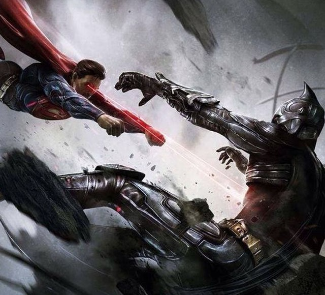 superman flying down on batman 30 Awsome Batman vs Superman illustrations