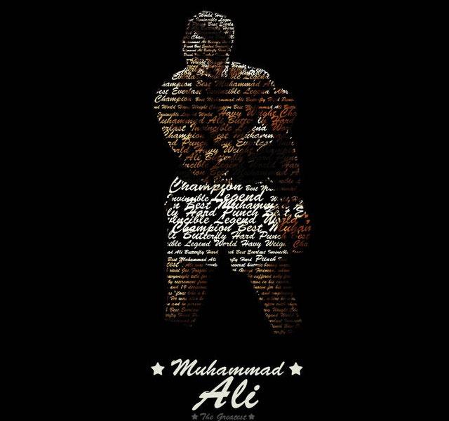 hand written RIP Mohammed Ali the world's greatest boxer – illustration showcase