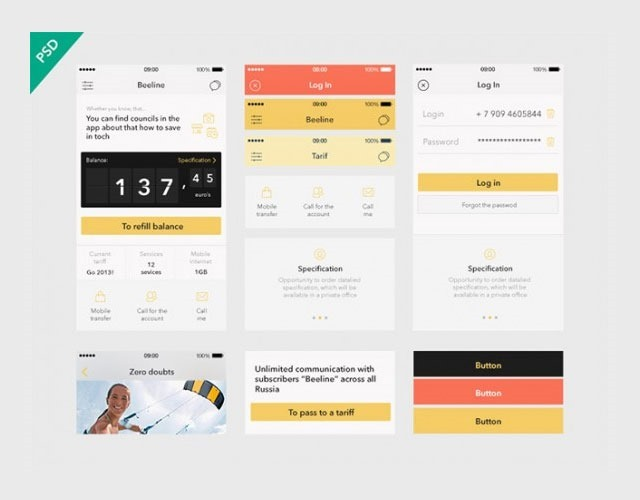 beeline 30 Free mobile UI kits for Photoshop and Sketch