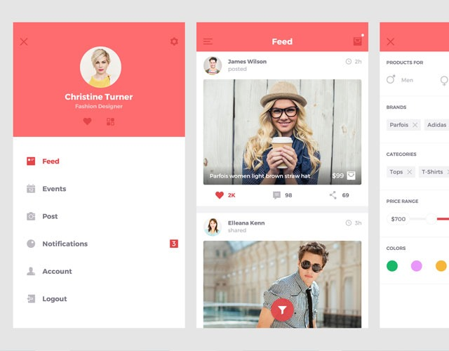christine turner 30 Free mobile UI kits for Photoshop and Sketch