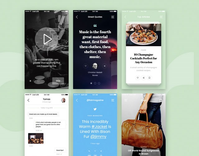 fair 30 Free mobile UI kits for Photoshop and Sketch