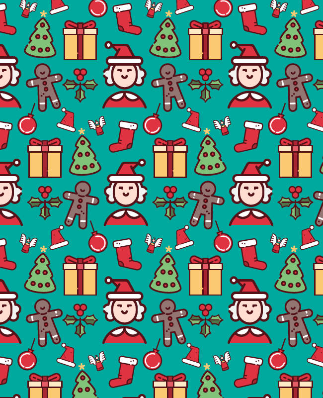 green christmas pattern Christmas cute fun free semaless vector pattern
