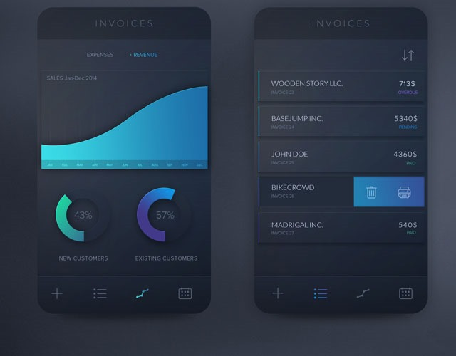 invoices 30 Free mobile UI kits for Photoshop and Sketch