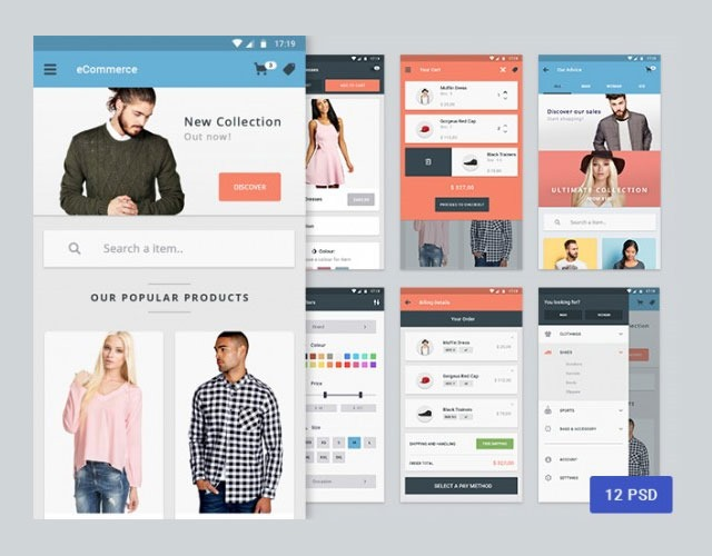 materia 30 Free mobile UI kits for Photoshop and Sketch