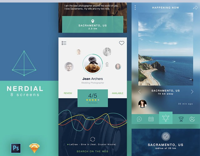 nerdial 30 Free mobile UI kits for Photoshop and Sketch