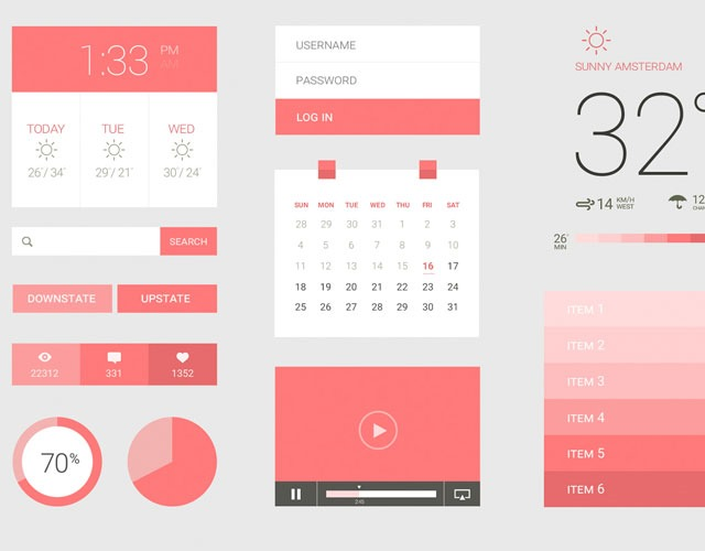 pink 30 Free mobile UI kits for Photoshop and Sketch