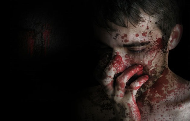 splatter face 1 20 Photoshop tutorial for creating scary themed effects