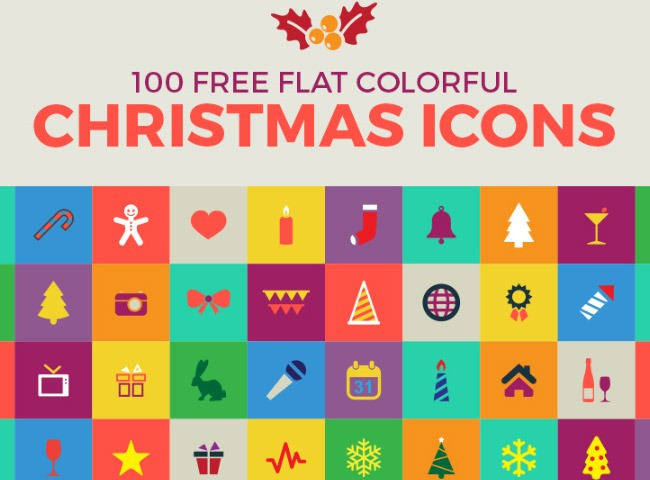 100 flat icons 25 Free Christmas themed icon sets