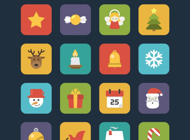 christmas flat icons 25 Free Christmas themed icon sets