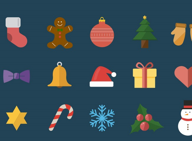 christmas icons 15 25 Free Christmas themed icon sets