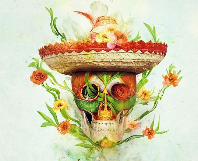 floral skull 80 best Photoshop tutorials created in 2016