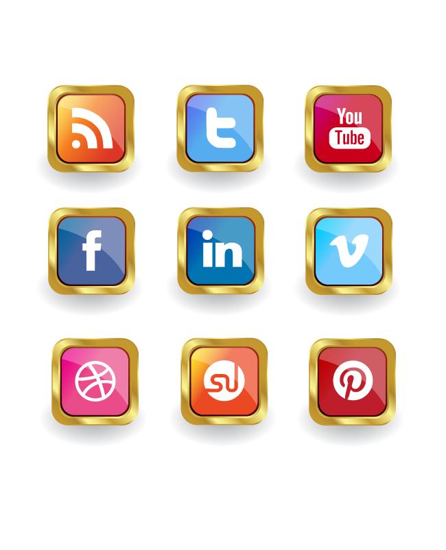 golden-social-media-icon-set