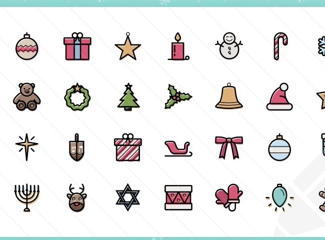 thin 25 Free Christmas themed icon sets